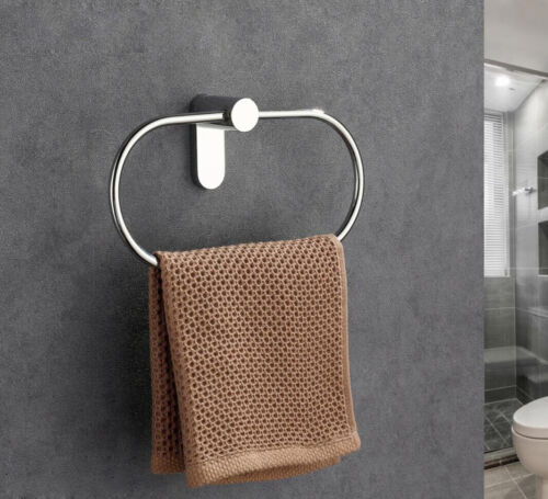 Hallyware Towel Rail with Hook SUS 304 Stainless Steel Bathroom Kitchen Hanger Multifunctional Hand Towel Ring Holder Wall Mounted Brushed