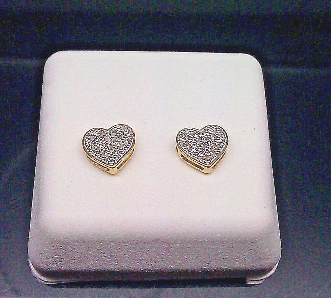 Brand New 0.10 CT Diamond 10 k Yellow Gold Heart Shaped Earring Men/ Women