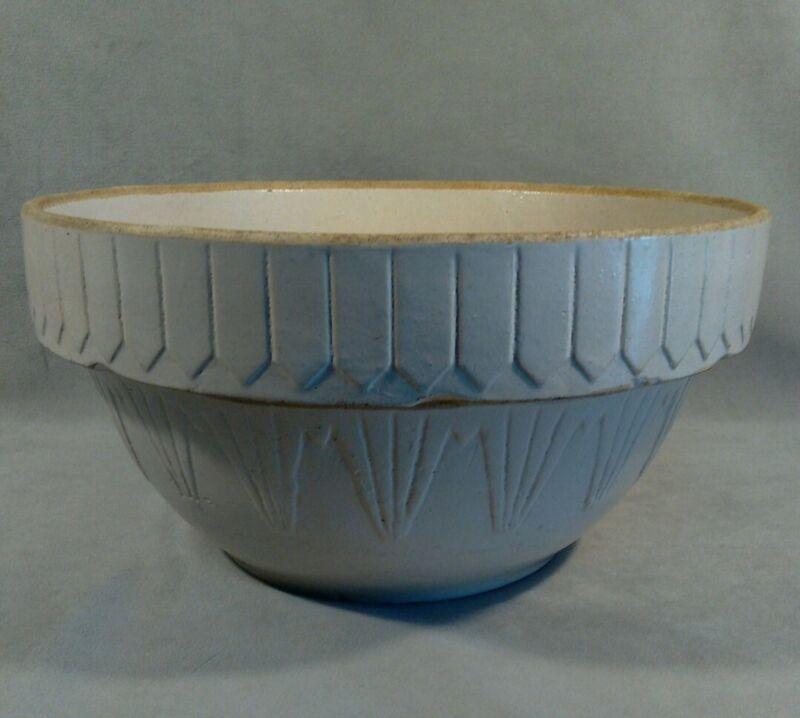 "PV05694 Antique Prim Whites Stoneware Crock PICKET FENCE 12"" Mixing / Dough Bowl"