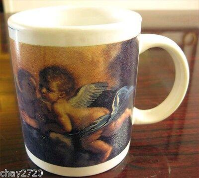 Pre Owned White Ceramic Mug With Cherubim Angels