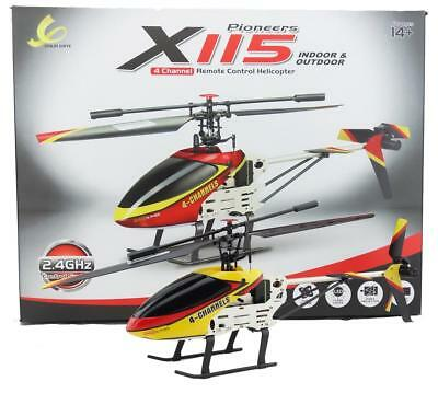 Elicottero X115 radiocomandato 4 canali drone giroscopio led batteria ricambi