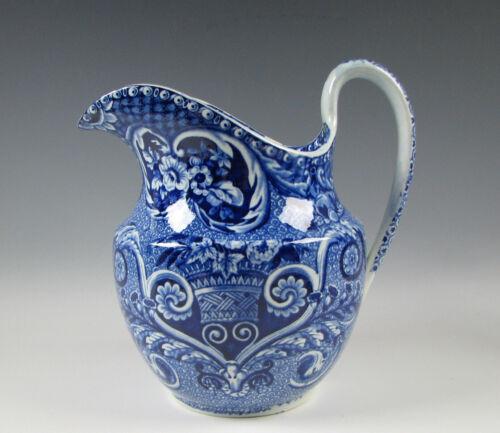 Antique Dark Blue Staffordshire Wash Pitcher Basket of Flowers