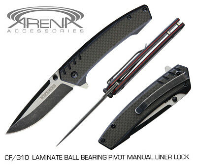 (REAL CARBON FIBER/G10 Scale Knife w/Deep Carry Pocket Clip & Ball Bearing Pivot)