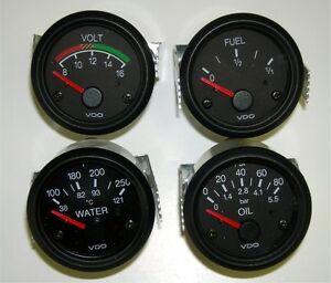 4 Gauge set with senders, VDO type, Oil, Temp, Fuel, Volt, 12V, VDO-12S
