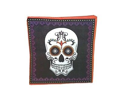 Halloween Small Beverage Napkins Day Of The Dead Skeleton Sugar Skull 20 Count
