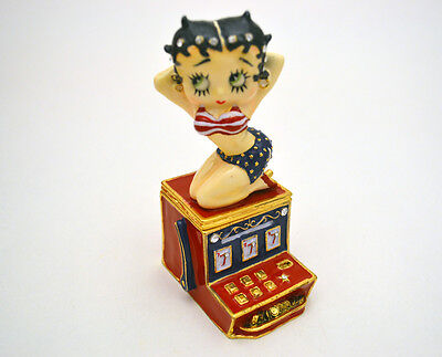 """OFFICIAL BETTY BOOP """"HOT SLOTS"""" FIGURINE TRINKET BOX BY CONNOISSEUR, NEW IN BOX"""