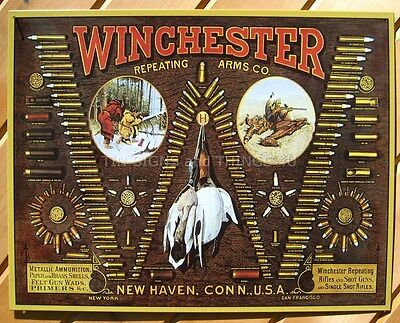 Winchester TIN SIGN Bullet Chart hunting ammo gun room vtg metal wall decor 942