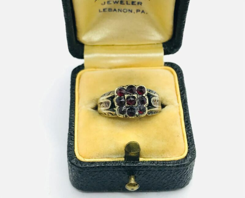 1854 Dated Early Victorian 14K Rose Gold Bohemian Garnet Ring