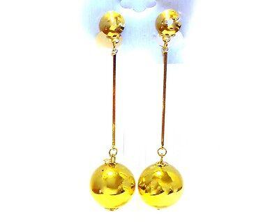 CLIP-ON EARRINGS BALL DANGLE EARRINGS LIGHTWEIGHT GOLD OR SILVER TONE 3.25 IN L