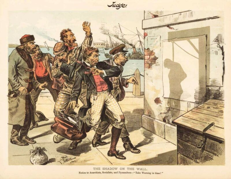 Dynamiters Irish Nationals German Socialists Anarchists Hanging Cartoon 1887