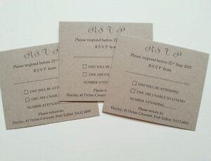 Kraft wedding rsvp cards or gift poems x 10