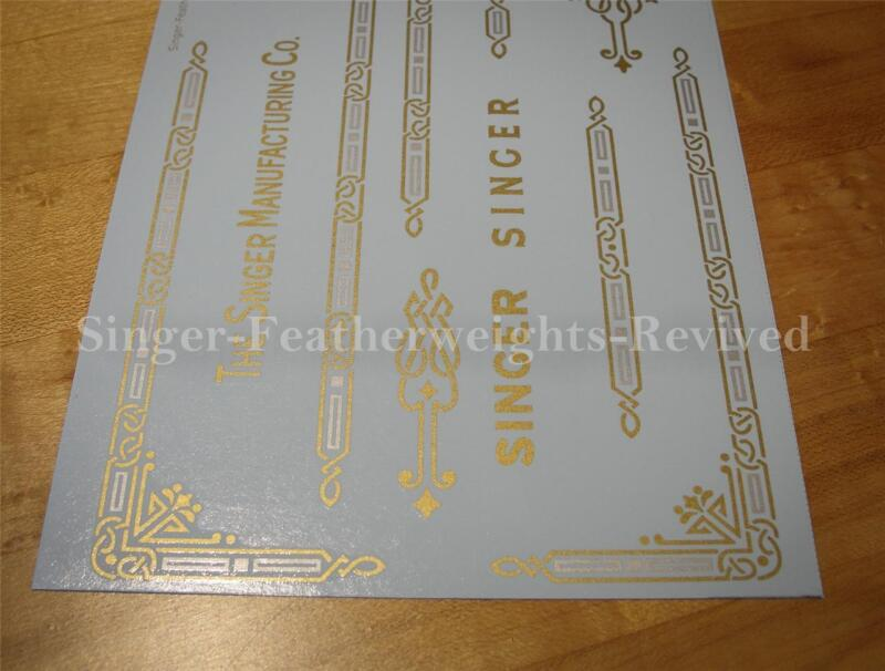 SINGER FEATHERWEIGHT GOLD W/SILVER INLAY **PRE TRIMMED** DECALS / SCREEN PRINTED