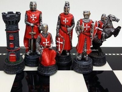 MEDIEVAL TIMES CRUSADES WARRIOR RED & BLUE CHESS MEN SET THE CRUSADE - NO (Medieval Chess Set)