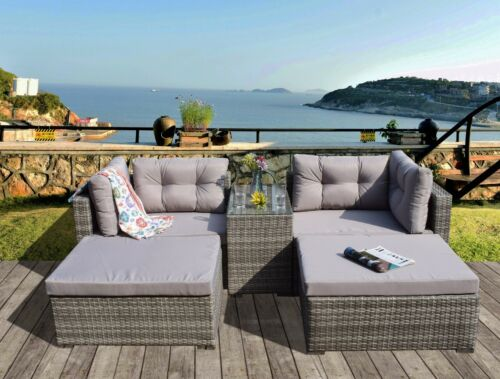 Garden Furniture - RATTAN GARDEN WICKER OUTDOOR SUN LOUNGER SOFA FURNITURE SET CUBE CORNER DINING