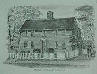 Vintage Pencil Drawing Moses Andrews of Homestead Circa 1775 Meriden Connecticut