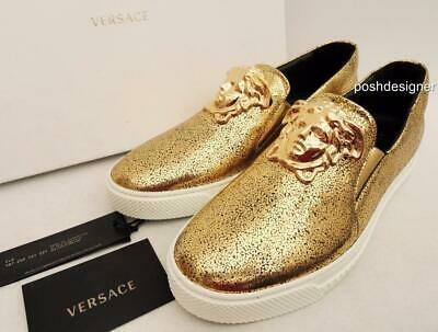 VERSACE Medusa Gold Leather Sneakers Trainers Shoes UK8 EU42 US9 Auth New