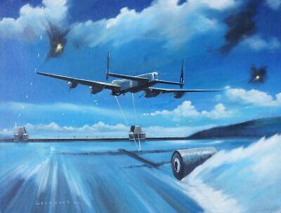 Avro Lancasters 617 Squadron Grand Slam bomb framed picture C Rupert Moore