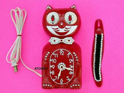 60's-VINTAGE-RED JEWELED-ELECTRIC KIT CAT KLOCK-KAT CLOCK-ORIGINAL MOTOR REBUILT