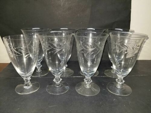 8 FOSTORIA CRYSTAL ETCHED FOLIAGE LEAVES VINES WINE WATER TEA GLASSES