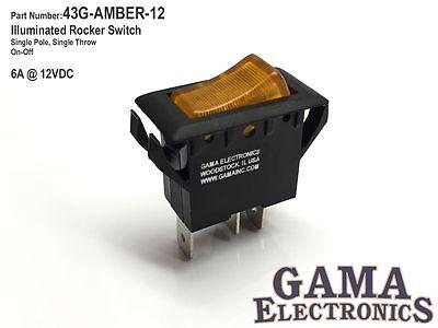 Amber Illuminated Single Pole Off-on Rocker Switch 6a 12vdc - 43g-amber-12