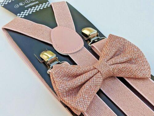 New Pink Rose Gold Glitter Suspenders Shiny Bow Tie Set Dance Tuxedo Combo