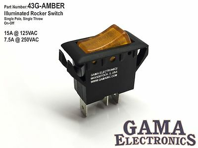 Single Pole Amber Illuminated Off-on Rocker Switch 125250vac