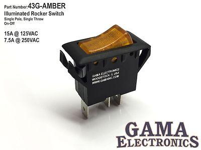Single Pole Amber Illuminated Off-on Rocker Switch 125250vac