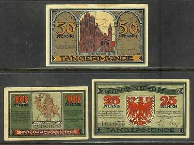 Germany (Tangermünde) - Matching Set of 3 GUTSCHEIN Banknotes (1921) AU-UNC.