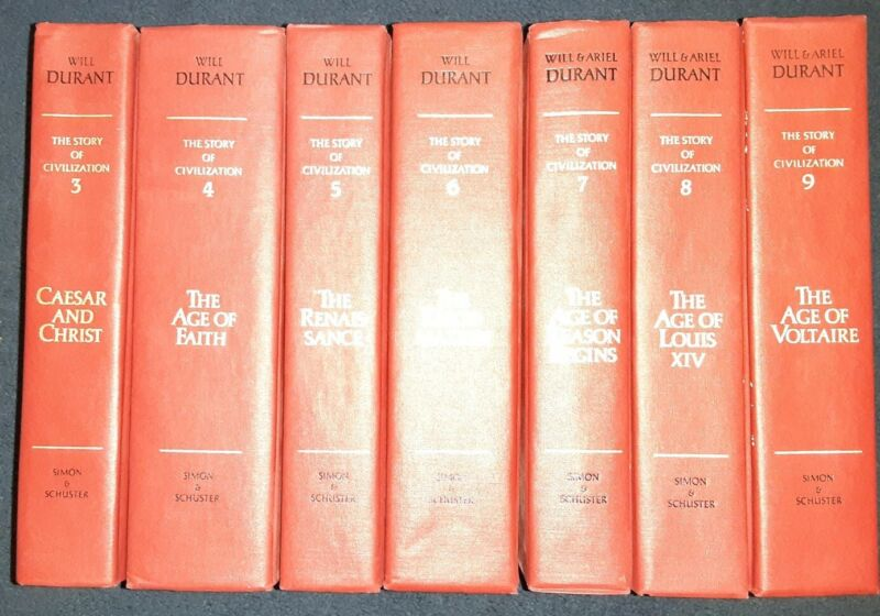 Nice lot of 7 vintage hardcovers The Story of Civilization by Will Durant