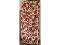 Cream and Burgundy Lined Curtains