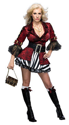 Treasure Chest Halloween Costume (Treasure Chest Pirate Wench Caribbean Red Dress Up Halloween Sexy Adult)