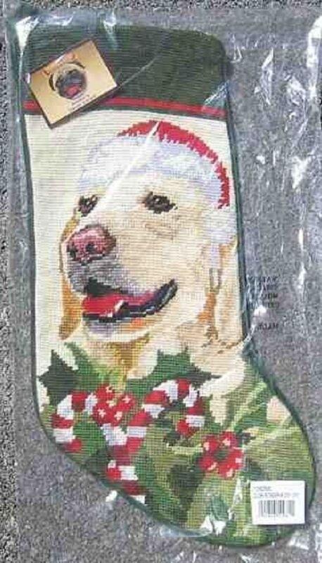 Large Stocking GOLDEN RETRIEVER II Dog Needlepoint Christmas Holiday Stocking