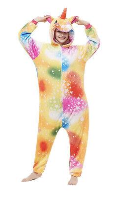 Rainbow Unicorn Furry Fantasy Fun Zipper Pajama Cosplay Costume Halloween Jumper