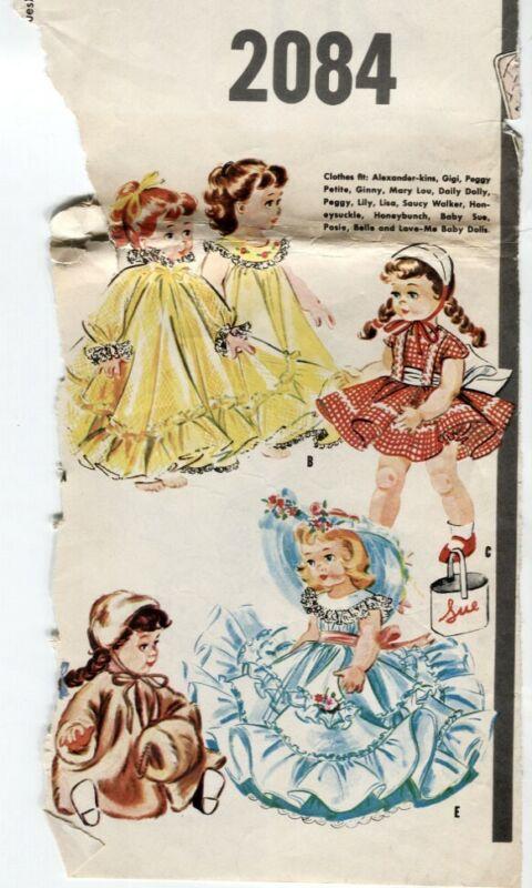 "McCalls Pattern 2084 VTG 1956 Doll 21-23"" Clothes Chubby Doll Wardrobe UNCUT"