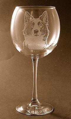 New! Etched Border Collie on Large Elegant Wine Glasses - Set of 2