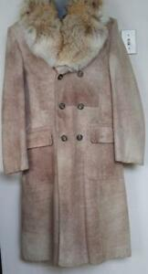 RARE Mens M 38 Tall Soft Suede Leather & Coyote Real Fur Long Winter COAT Retro Quilted Vintage Mid-Century Super Warm