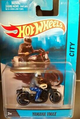 Hot Wheels City Yamaha VMAX Motorcycle Silver Black with Removable Rider