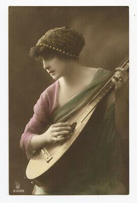 1910s Glamour Pretty Lady TEARDROP GUITAR Acoustic photo postcard