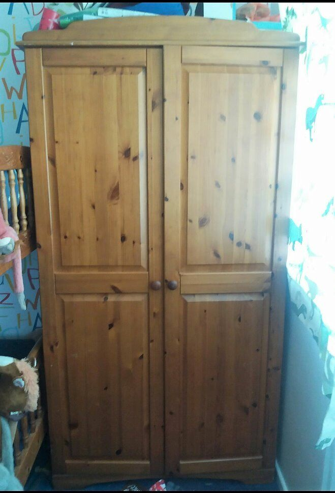 Large Pine and Pine Effect Wardrobe, Bedroom Furniture