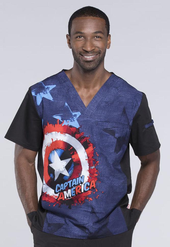 4a51c354972 Captain America Cherokee Scrubs Tooniforms Marvel Mens V Neck Top TF700  MAOJ фото