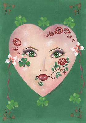 HALLOWEEN COSTUME MASK IRISH GREEN CLOVER GARDEN GIRL RED ROSE PORTRAIT PAINTING