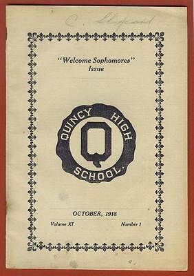 "Quincy High School ""Q"" - 1918 School Mag / Newsp - QHS vs Palmyra Mo. Quincy IL"