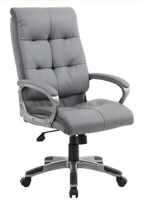 Maine Grey Bonded Leather Executive Padded Computer Office Task Chair Graded MG1