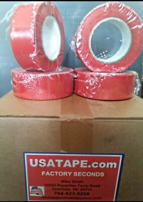 Lot Of 24 Rolls 2 Inch X 60 Yrds Red Vinyl Stucco Tape Factory Seconds