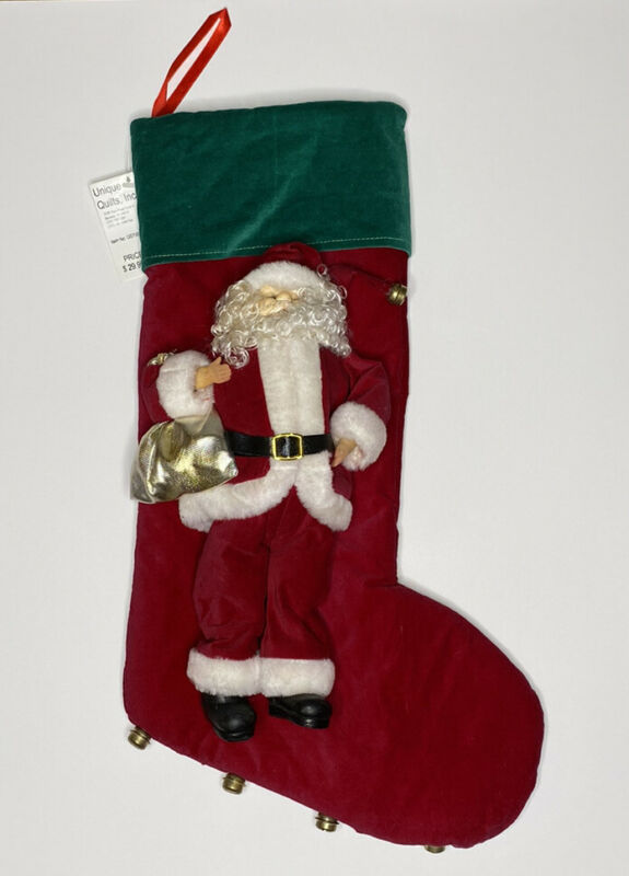 Vintage SANTA Christmas Stocking with Bells