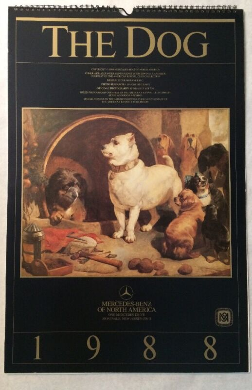 """VTG 1988 Mercedes-Benz Issued """"The Dog"""" 14-1/2""""x22"""" Collectible Wall Calendar"""