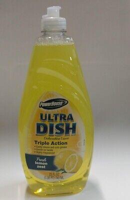 PowerHouse Ultra Dish Dishwashing Liquid, Fresh Lemon Zest, 25 fl oz (Fresh Dish Liquid)