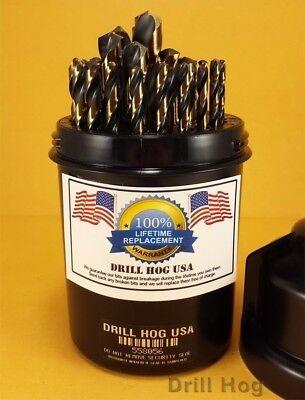 29 Pc Drill Bit Set Drill Index HI-Molybdenum M7 Lifetime Warranty Drill Hog USA