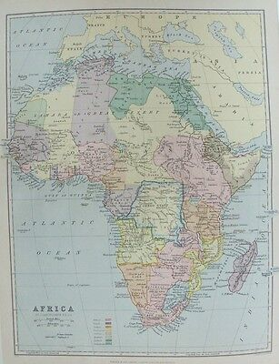OLD ANTIQUE MAP AFRICA by BARTHOLOMEW c1880's 19th CENTURY PRINTED COLOUR