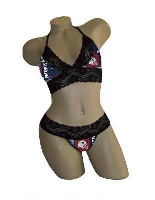 Sexy New England Patriots NFL Lingerie Lace Cami Tie Top, G-String CUSTOM Sizing
